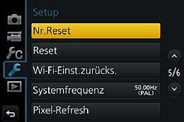 Panasonic Lumix DMC-GH4 – Setup-Menü [Foto: Martin Vieten]