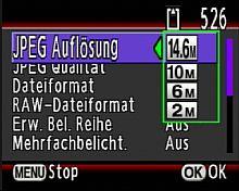Pentax K20D - Einstellung der Auflösung [Foto: MediaNord]