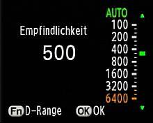 Pentax K20D - Empfindlichkeitseinstellung [Foto: MediaNord]