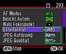 Pentax K200D Aufnahmemenü - Dateiformataufwahl [Foto: MediaNord]