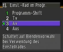Pentax K200D Benutzermenü - Funktion des Einstellrades in der Programmautomatik [Foto: MediaNord]