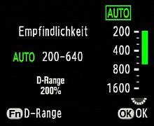 Pentax K200D Fn-Menü - Auswahl der Empfindlichkeit und des Dynamikumfangs [Foto: MediaNord]