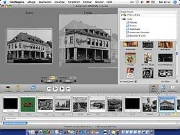 FotoMagico 2: die Oberfläche mit Bühne (links oben), Medien (rechts oben) und Storyboard (unten) [Foto: Gerd M. Hofman]