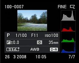 Sony Alpha 200 Wiedergabe mit Detailinfos und Histogramm [Foto: MediaNord]