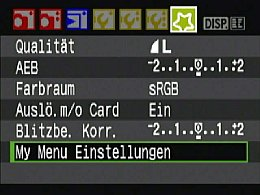 Canon EOS 450D My Menu [Foto: MediaNord]