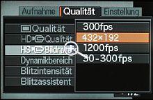 Casio Exilim Pro EX-F1 Auswahl der Highspeed-Bildrate [Foto: MediaNord]