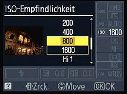 Nikon D3000 – Einstellung der Empfindlichkeit über Statusbildschirm [Foto: MediaNord]