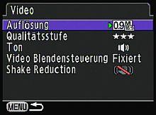 Pentax K-x – Videoeinstellungen [Foto: MediaNord]