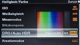 Sony NEX-5 – Menü Helligkeit und Farbe [Foto: MediaNord]