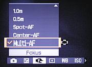 Sony DSC-T7 Fokusmenü [Foto: MediaNord]
