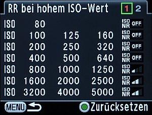 Pentax K-5 Menü RR bei hohem ISO-Wert [Foto: MediaNord]