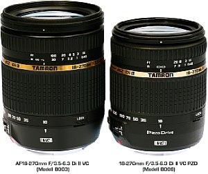 Tamron Vergleich AF 18-270 mm (Modell 2003) mit 18-270 mm (Modell 2008) [Foto: Tamron]