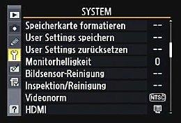 Nikon D7000 – Systemmenü [Foto: MediaNord]