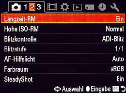Sony SLT Alpha 77V – Aufnahmemenü 2 [Foto: MediaNord]