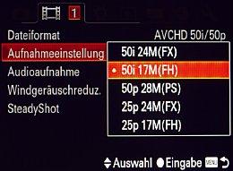 Sony SLT Alpha 77V – Videoaufnahmeeinstellung [Foto: MediaNord]
