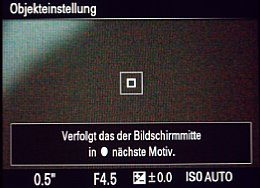 Sony SLT Alpha 77V – Objekteinstellung im LiveView [Foto: MediaNord]
