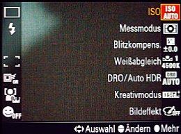 Sony SLT Alpha 77V – Fn-Menü [Foto: MediaNord]