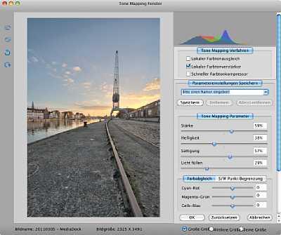 HDR 5.0 Darkroom – Tonemappingfenster für Rezension [Foto: Jens Scheppler]