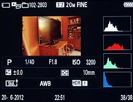 Sony Cyber-shot DSC-RX100 – Wiedergabe mit Aufnahmeinformationen und RGB-Histogramm [Foto: MediaNord]