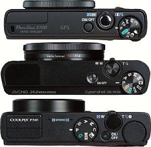 Größenvergleich Canon PowerShot S100 (oben), Sony Cyber-shot DSC-RX100 (mitte) und Nikon Coolpix P310 [Foto: MediaNord]