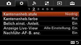 Sony Alpha 6000 – Einstellungs-Menü 2 [Foto: MediaNord]