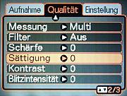 Casio Exilim EX-Z850 – Qualitätsmenü [Screenshot: MediaNord]