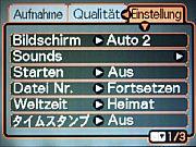 Casio Exilim EX-Z850 – Einstellungsmenü 2 [Screenshot:MediaNord]