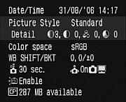 Canon EOS 400D Kamerastatuseisntellungen [Foto: MediaNord]