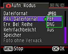 Pentax K10D – Aufnahmemenü Rohdatenformatswahl [Foto: MediaNord]