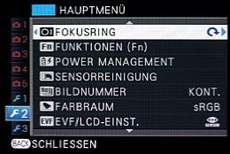 Fujifilm X-E2 – Hauptmenü [Foto: MediaNord]
