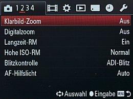 Sony Alpha SLT-A99V – Aufnahmemenü [Foto: MediaNord]