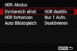 Canon EOS 6D – Einstellungen des HDR-Modus [Foto: MediaNord]