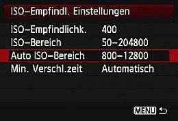 Canon EOS-1D X – ISO-Empfindlichkeits-Einstellungen [Foto: MediaNord]