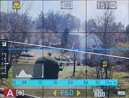 Fujifilm X20 – Live-View mit Gitter und künstlichem Horizont [Foto: Martin Vieten]