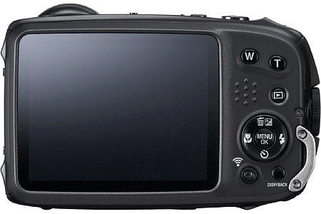 Bild Das 7,6 Zentimeter große LC-Display der Fujifilm FinePix XP90 soll sich dank einer Anti-Reflex-Beschichtung und automatischer Helligkeitsanpassung unter allen Lichtbedingungen optimal ablesen lassen. [Foto: Fujifilm]