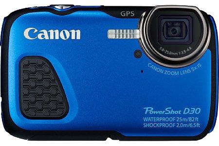 Bild Die Canon PowerShot D30 ist bis zu einer Tachtiefe von 25 Metern wasserdicht. Sie widersteht auch Frost bis minus zehn Grad und ist bruchsicher bis zu einer Fallhöhe von zwei Metern. [Foto: Canon]