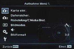 Olympus Stylus XZ-2 – Aufnahme Menü 1 [Foto: MediaNord]