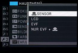 Fujifilm X-E2 – Einstellung für Eye-Sensor [Foto: MediaNord]