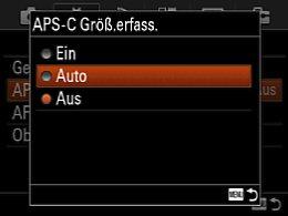Sony Alpha 7 – Einstellung des Crop-Modus im Hauptmenü [Foto: Martin Vieten]
