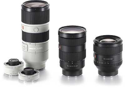 """Die neue """"G Master"""" Premium Objektivserie von Sony soll neue optische Maßstäbe setzen. Das FE 70-200 mm F2.8 GM OSS mitsamt zwei Telekonvertern, das FE 24-70 mm F2.8 GM und das FE 85 mm F1.4 GM sind die ersten Vertreter der neuen Art. [Foto: Sony]"""