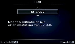 Olympus OM-D E-M1 – HDR Funktionseinstellung [Foto: MediaNord]