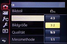 Panasonic Lumix DMC-GX7 – Hauptmenü [Foto: Martin Vieten]