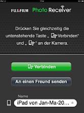 Startbildschirm vom Fujifilm Photo Receiver auf dem Apple iPad [Foto: MediaNord]