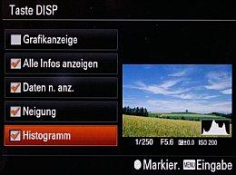Sony DSC-RX100 II – Funktionseinstellung der Display-Taste [Foto: Martin Vieten]