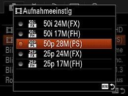 Sony Cyber-shot DSC-RX10 – Einstellung der Videoauflösung [Foto: MediaNord]