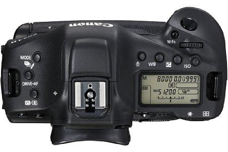 Bild Das Gehäuse der Canon EOS-1D X Mark II besteht aus einer Magnesiumlegierung und ist gegen Spritzwasser und Staub abgedichtet. Das Statusdisplay auf der Oberseite informiert über alle wichtigen Einstellungen. [Foto: Canon]