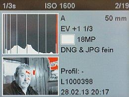 Leica M Monochrom – Die Clipping-Warnung markiert hier ausfressende Lichter. Sie lässt sich sehr fein konfigurieren. [Foto: Martin Vieten]