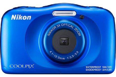 Bild Die blaue und weiße Farbe der Nikon Coolpix W150 sind hingegen auch schon beim Vorgängermodell zu haben gewesen. Der Preis bleibt mit knapp 170 Euro unverändert. [Foto: Nikon]