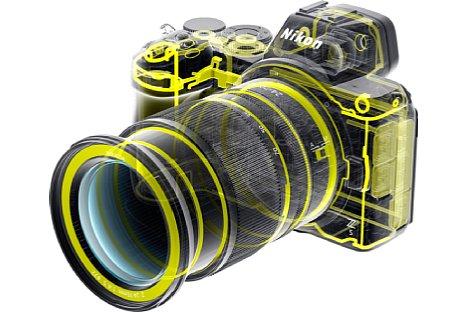 Bild Das Gehäuse der Nikon Z 5 besteht aus Kunststoff mit einer Deckkappe aus einer Magnesiumlegierung. Dank zahlreicher Dichtungen, auch am Akku- sowie Speicherkartenfach, weist das Gehäuse einen Spritzwasser- und Staubschutz auf. [Foto: Nikon]