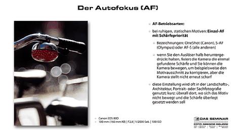 """Bild Einsteiger Fotokurs mit Uli Soja: Seite aus der Seminar-Präsentation """"Der Autofokus (AF)"""". [Foto: Foto Gregor Gruppe]"""